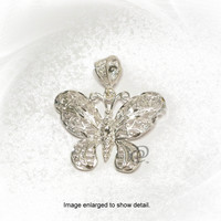 Sterling Silver Fancy Butterfly Pendant Charm