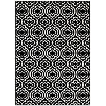 Frame Transitional Moroccan Trellis 8x10 Area Rug Black and White R-1130A-810