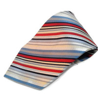 Vintage Men's Silk Neck Tie by Countess Mara Blue Red Silver Stripes Classic Necktie Men's Gift Men Silk Tie, Retro Hipster Necktie Gift
