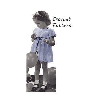 Toddler Girl's Dress Sizes 2,4 in Small Shell Stitch Pattern || Vintage 1940's || Reproduction PDF Instant Download Jane 5135-175