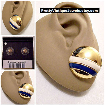 Monet White Blue Stripe Buttons Pierced Post Stud Earrings Gold Tone Vintage Large Round Domed Mirror Discs
