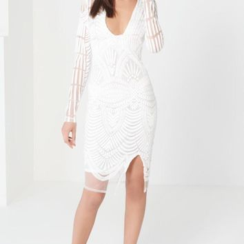 White Embroidered Mesh Dress