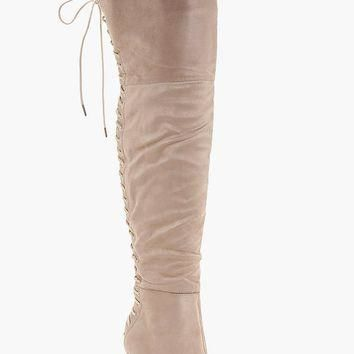 Sadie Lace Back Over the Knee Boot | Boohoo