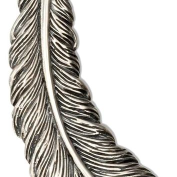Sterling Silver Charm:  Curved Feather Pendant