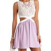 White Combo Lace & Chiffon Cut-Out Skater Dress by Charlotte Russe