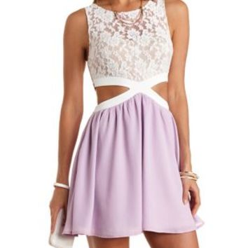 6c6f4f5a733 White Combo Lace   Chiffon Cut-Out Skater Dress by Charlotte Russe