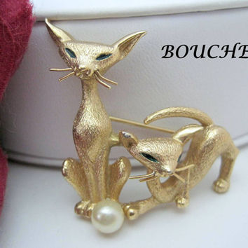 Vintage 60's Boucher signed and Numbered Siamese Cat Brooch Pin