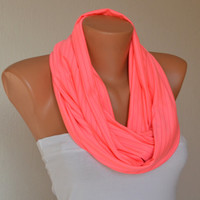 Neon pink infinity scarf  loop scarf cowl neck warmer women scarves birthday gifts girly accessories women's fashion