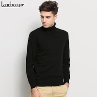 Hot 2017 New Autumn Winter Brand Clothing Sweater Men Turtleneck Slim Fit Winter Pullover Men Solid Color Knitted Sweater Men