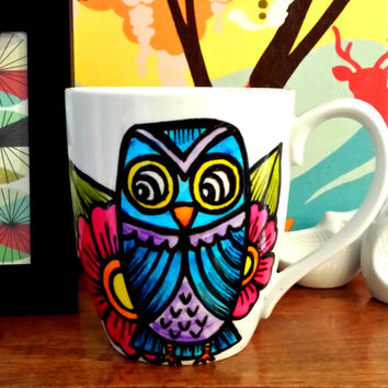 Ceramic Mug Hand Painted Owl Woodland Bird Blue Purple Pink Flowers Folk Art Coffee Cup with handle - Made to Order
