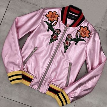 Fleece Lined Rose Gold Pink Floral Embroidered Leather Jacket Women Winter Female Pu Coats With Embroidery