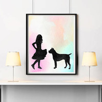 Custom portrait Girl with dog Silhouettes Pastel art Dog print Girl print Dog breed artwork Boxer poster Pets gift ArtPrintsByChrista