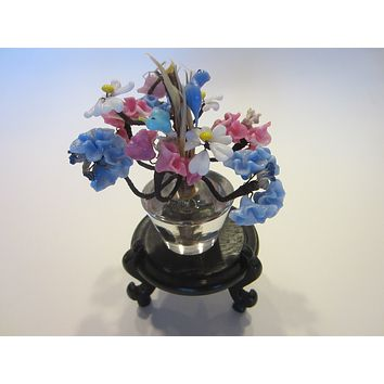Venetian Glass Stem Flowers Clear Glass Pot Blue Pink Birds