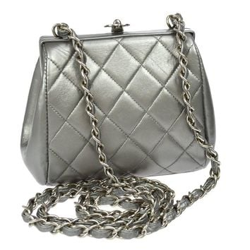 Chanel Silver Leather Party Kisslock Evening Flap Shoulder Bag