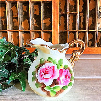 Chintz Rose Creamer, Enesco Heritage, Enesco Creamer, Rose Chintz, Chintz Creamer, Vintage Creamer, Lefton Pitcher, Porcelain Pitcher, Pink