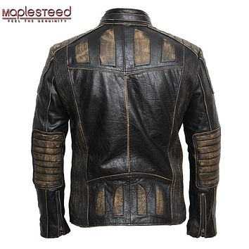 MAPLESTEED Motorcycle Leather Jacket Men Vintage Genuine Leather Jacket 100% Cowhide Punk Leather Jackets Motor Biker Coat 090