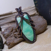 Mint Green Chrysoprase & Garnet Antique Copper Wire Wrapped Stone Pendant