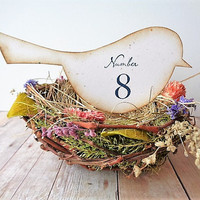 Wedding Bird Table Numbers Garden Party Rustic Country Woodland