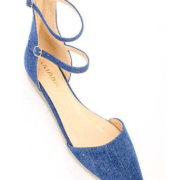 Denim Casual Cute Pointy Toe Flats Faux Suede