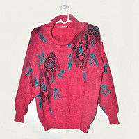 Womens Vintage Rose Sweater Cowl Neck Pullover Dark Pink Floral Jumper Large L