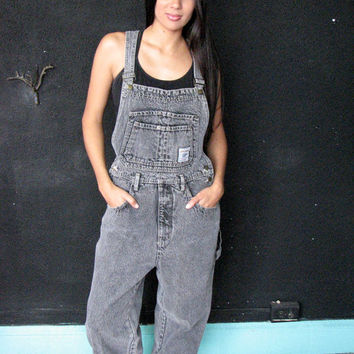 90s grunge dark denim overall m l - black acid wash jean long pant adjustable strap pocket roll cuff - punk rock club kid rave - med lg