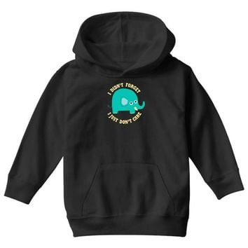 an elephant never cares Youth Hoodie