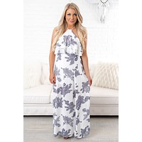 Don't Look Back Printed Maxi (White/Navy)