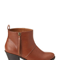 FOREVER 21 Zippered Faux Leather Booties Chestnut