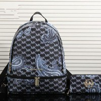 DCCK6HW Michael Kors' Fashion Casual Personality Print Backpack MK Unisex Large Capacity Travel Double Shoulder Bag Wallet Set Two-Piece