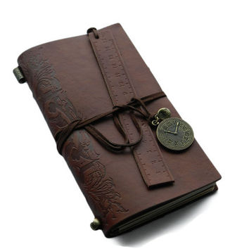 Refillable Leather Notebook Travel Journal Leather Stylish  Notebook Nature Inspired Sketchbook