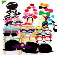 58PCS Funny Photo Booth Props Hat Mustache On A Stick Wedding Favors Birthday Party Decoration