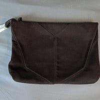 1940s Brown Wool Clutch Purse with Lucite Pull, Large Vintage Handbag, with flaws