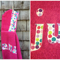 Girls Personalized Hooded Towel Raspbery Pink with polkadots Beach Pool Bath Towel Kids Children Birthday Christmas Gift