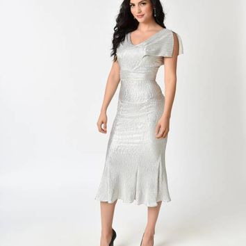 Stop Staring! Metallic Silver Screen Cap Sleeve Wiggle Dress