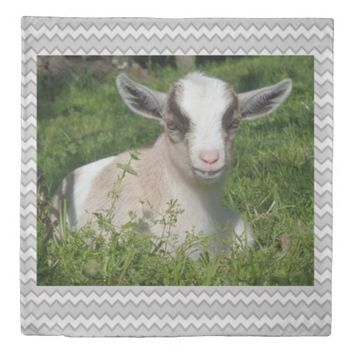 Baby Goat Barnyard Farm Animal Grey Gray Chevron Duvet Cover