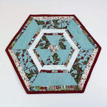 Holiday Candle Mat or Christmas Mug Rug in Moda Figgy Pudding fabric  - Aqua Blue, Red, White , Hexagon Quilted Table Runner