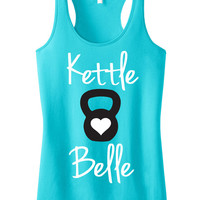 Kettle Belle Teal Workout Tank Top, Workout Clothes, Motivational Workout Tank, crossfit Shirt, Gym Tank, Gym Clothing, Crossfit