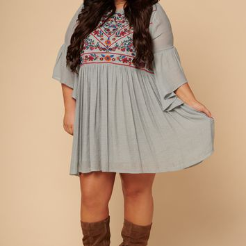 Curvy Mary Ann Embroidered Dress (Grey)