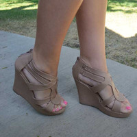 Uptown Girl Wedges-Taupe