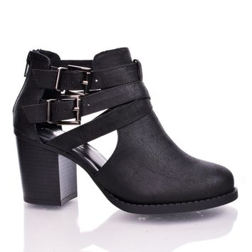 Scribe Black by Soda, Black PU Round Toe Dual Buckle Side Cut Out Block Stacked Heel Ankle Bootie Day-First™