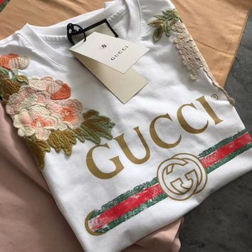 charmvip - Gucci Garden Embroidered T-shirt