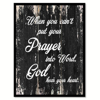 When you can't put your prayer into word god hear your heart Religious Quote Saying Canvas Print with Picture Frame Home Decor Wall Art