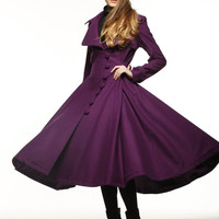 Purple Cashmere Dress Coat Big Sweep Women Wool Winter Coat Long Jacket Tunic / Fast Shipping - NC419