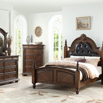 Poundex F9431Q 5 pc Palisades cherry brown finish wood with tufted headboard queen bedroom set