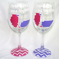 SET OF 2 State to State Country Wine Glass Cup Chevron Personalized Birthday Anniversary Bride Wedding Best Friend Long Distance Coffee Mug