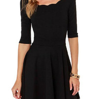 Black Half Sleeve Flounce Dress
