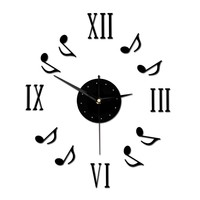 Juice Action 14 Inch Modern Novelty Fashion DIY Musical Notes Mute Quartz Wall Clock Black