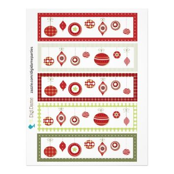 Christmas Baubles Party Drink Bottle/Cup Labels