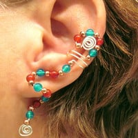 "Cartilage Ear Cuff ""Kachina"" Carnelian Apatite No Piercing"