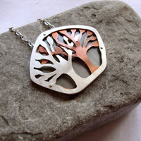 Custom Made Copper & Silver Layered Tree Necklaces